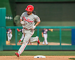 11 September 2016: Philadelphia Phillies infielder Freddy Galvis rounds the bases after hitting a solo home run in the 8th inning against the Washington Nationals at Nationals Park in Washington, DC. The Nationals edged out the Phillies 3-2 to take the rubber match of their 3-game series. Mandatory Credit: Ed Wolfstein Photo *** RAW (NEF) Image File Available ***