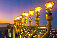 Rabbi Isaac Levitansky, from the Chabad in Simcha Monica, lights the giant Menorah on last night of Chanukah  (AKA, the 8th night) at the Santa Monica Pier on Tuesday, December 27, 2011.