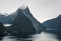 Milford Sound in winter and Mitre Peak 1692m, Fiordland National Park, Southland, World Heritage Area, New Zealand