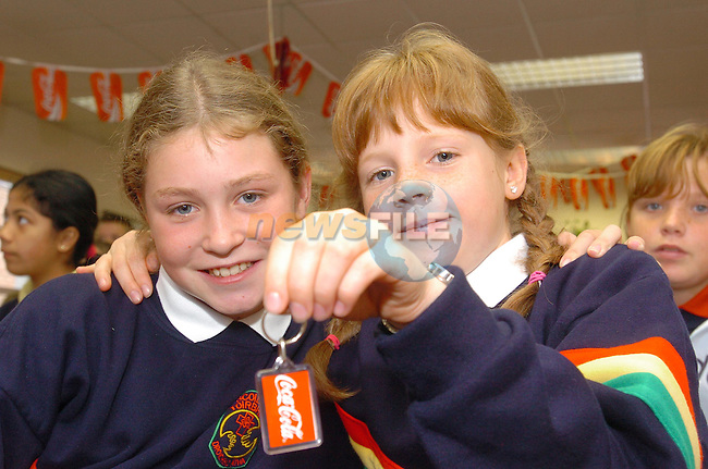 Alanna Millen and Emma Brady during there visit to the Coca Cola Bottlers in Dublin organised by Drogheda Concentrates...Photo Fran Caffrey Newsfile.ie..This Picture has been sent to you by Newsfile Ltd..The Studio,.Millmount Abbey,.Drogheda,.Co. Meath,.Ireland..Tel: +353(0)41-9871240.Fax: +353(0)41-9871260.ISDN: +353(0)41-9871010.www.newsfile.ie..general email: pictures@newsfile.ie
