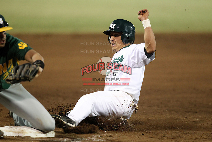 Stetson Hatters Spencer Emory #7 during a game vs Siena Saints at Melching Field in De Land, Florida;  March 16, 2011.  Stetson defeated Siena 5-1.  Photo By Mike Janes/Four Seam Images