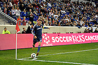 David Beckham (23) of the Los Angeles Galaxy takes a corner kick. The New York Red Bulls defeated the Los Angeles Galaxy 2-0 during a Major League Soccer (MLS) match at Red Bull Arena in Harrison, NJ, on October 4, 2011.