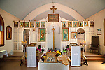 Altar and relics of St. Nikoli, St. Vasilije of Ostrog Serbian Orthodox Church 100th anniversary Divine Liturgy celebration.