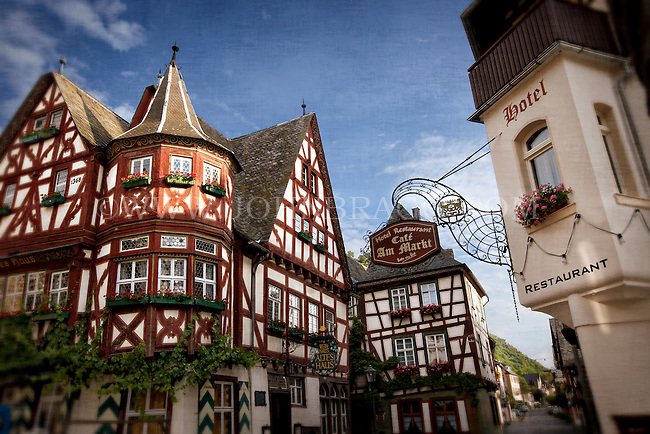 Photo of a Cafe and Hotel and unique buildings in the marketplace of Bacharach, Germany.