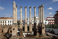 The Temple of Claudius Marcellus, bare pillars reconstituted from the Roman Temple bearing the name of the founder of the city in 169 BC, Cordoba, Andalusia, Spain.