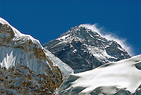 The wind-swept west face of Mount Everest. Known by many names over the years, Mt Everest was named for Sir George Everest the surveyor general of colonial India in 1865. The Sherpa of Nepal call the highest mountain in the world, Chomolungma, the Goddess Mother of the World. First conquered by Tenzing Norgay and Sir Edmund Hillary in 1953, Everest is the ultimate goal for mountaineers.