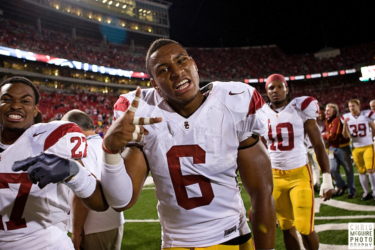 12 September 2009:  Football -- USC linebacker Malcolm Smith celebrates their 18-15 victory over Ohio State at Ohio Stadium in Columbus.  Photo by Christopher McGuire.