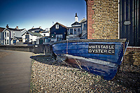 Boat outside Whitstable Oyster Company Restaurant.