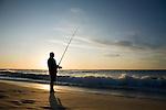 Sunset beach fishing at Yallingup in the Leeuwin-Naturaliste National Park, Western Australia, AUSTRALIA.