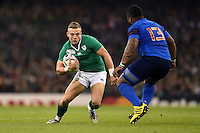 Ian Madigan of Ireland in possession. Rugby World Cup Pool D match between France and Ireland on October 11, 2015 at the Millennium Stadium in Cardiff, Wales. Photo by: Patrick Khachfe / Onside Images