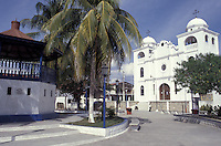Main square in the town of Flores, Lake Peten Itza, El Peten, Guatemala