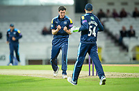 Picture by Allan McKenzie/SWpix.com - 16/05/2017 - Cricket - Royal London One-Day Cup - Yorkshire County Cricket Club v Leicestershire County Cricket Club - Headingley Cricket Ground, Leeds, England - Yorkshire's Matthew Fisher celebrates dismissing Leicestershire's Clint McKay.