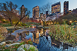 Picture of The Pond and New-York City Skyline as viewed from Central Park at the blue hour on a beautiful evening of November, NYC, USA