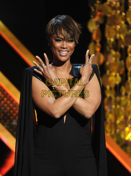BURBANK, CA - APRIL 26: Tyra Banks hosts the 42nd Annual Daytime Emmy Awards at the Warner Bros. Studio Lot on April 26, 2015 in Burbank, California. <br /> CAP/MPI/PGFM<br /> &copy;PGFM/MPI/Capital Pictures