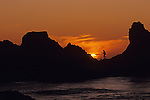 Southern Oregon Coastline with silhouetted rock formations and fisherman walking on rocks dramatic sunset  Harris Beach State Park Oregon State USA