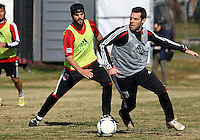 WASHINGTON, DC - NOVEMBER 14, 2012: Ben Olsen of DC United joins in during a practice session before the second leg of the Eastern Conference Championship at DC United practice field, in Washington, DC on November 14.