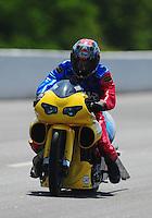 May 5, 2012; Commerce, GA, USA: NHRA pro stock motorcycle rider Scotty Pollacheck during qualifying for the Southern Nationals at Atlanta Dragway. Mandatory Credit: Mark J. Rebilas-