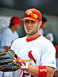 8 March 2012: St. Louis Cardinals' infielder Skip Schumaker stands in the dugout prior to a Spring Training game against the Boston Red Sox at Roger Dean Stadium in Jupiter, Florida. The Cardinals defeated the Red Sox 9-3 in Grapefruit League action. Mandatory Credit: Ed Wolfstein Photo