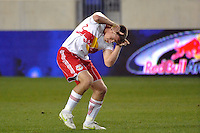 Jan Gunnar Solli (8) of the New York Red Bulls celebrates after the game. The New York Red Bulls defeated Sporting Kansas City 1-0 during a Major League Soccer (MLS) match at Red Bull Arena in Harrison, NJ, on April 30, 2011.