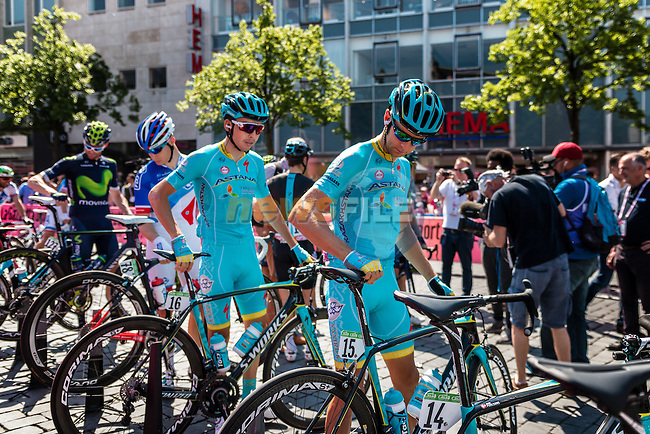 KANGERT Tanel from Estonia of Astana Pro Team (KAZ) signing in before the start at Nijmegen, stage 3 from Nijmegen to Arnhem running 190 km of the 99th Giro d'Italia (UCI WorldTour), The Netherlands, 8 May 2016. Photo by Pim Nijland / PelotonPhotos.com | All photos usage must carry mandatory copyright credit (Peloton Photos | Pim Nijland)