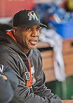 15 May 2016: Miami Marlins hitting coach Barry Bonds watches play from the dugout during a game against the Washington Nationals at Nationals Park in Washington, DC. The Marlins defeated the Nationals 5-1 in the final game of their 4-game series.  Mandatory Credit: Ed Wolfstein Photo *** RAW (NEF) Image File Available ***
