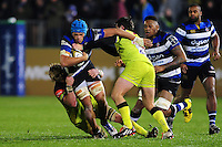 Zach Mercer of Bath Rugby takes on the Leicester Tigers defence. Anglo-Welsh Cup match, between Bath Rugby and Leicester Tigers on November 4, 2016 at the Recreation Ground in Bath, England. Photo by: Patrick Khachfe / Onside Images