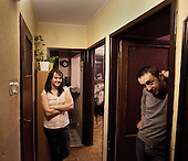 WARSAW, POLAND, JANUARY 2013:<br /> Lukasz Gibski, singer of STEREO disco polo band and his wife Iza, the manager of the band, at their flat.<br /> Disco polo is a type of dance music which originated in rural areas of Poland.<br /> Though considered tacky by many people, it is becoming incredibly popular<br /> (Photo by Piotr Malecki / Napo Images)<br /> <br /> Warszawa, styczen 2013:<br /> Lukasz Gibski i Iza Gibska z zespolu STEREO, w wynajetym mieszkaniu. Sa tzw. sloikami, przyjechali z Kutna.<br /> Fot: Piotr Malecki / Napo Images