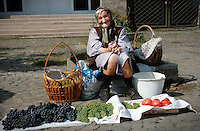 Selling fruit at Uzhgorod's outdoor market
