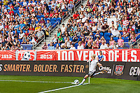 United States (USA) midfielder Megan Rapinoe (15) takes a corner kick. The women's national team of the United States defeated the Korea Republic 5-0 during an international friendly at Red Bull Arena in Harrison, NJ, on June 20, 2013.