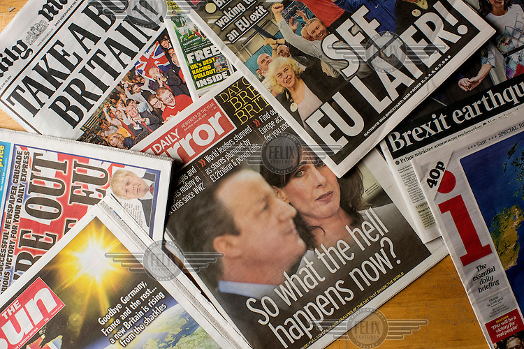The front covers of British tabloid newspapers in the days following the EU referendum.