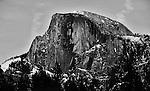 Winter scenes in Yosemite Valley located in the Yosemite National Park..Half Dome with winter snow.