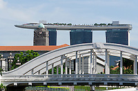Singapore. North Bridge and Marina Bay Sands Hotel.