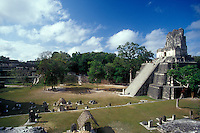 The Great Plaza and Temple II at the Mayan ruins of Tikal in Tikal National Park, El Peten, Guatemala