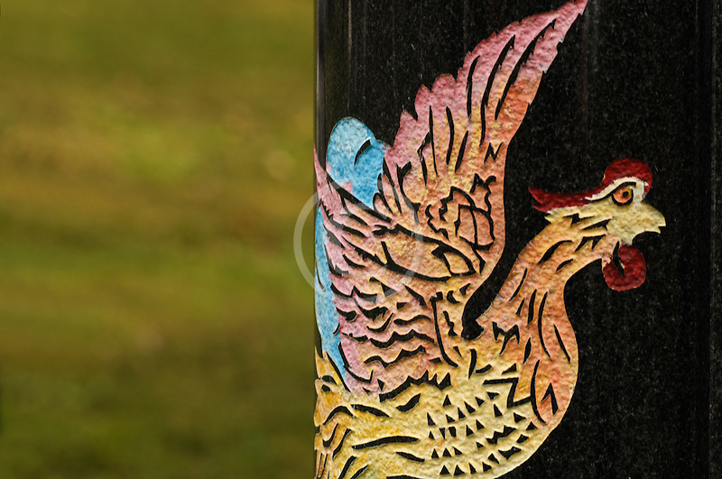 Canada, Montreal, Mount Royal Cemetery, Gravestone decoration, rooster