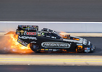 Sep 17, 2016; Concord, NC, USA; NHRA funny car driver Matt Hagan suffers an engine fire during qualifying for the Carolina Nationals at zMax Dragway. Mandatory Credit: Mark J. Rebilas-USA TODAY Sports