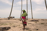 Indonesia – Sumatra – Aceh – Kuala Do – Suryiani, 45-years-old standing amidst the coconut trees that were completely immerged in the waves that took away her husband and her 9-year-old daughter on the 24th of December 2004.  The tsunami claimed 70 of the 150 lives of Kuala Do. As a matter of precaution, the village was rebuilt behind the new coastal road, at the foot of a nearby hill where people could take refuge in case of another tsunami.