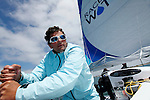 Onboard the MOD70 Race for Water, the first of the new series of oceanic one-design multihulls, skipper Steve Ravussin, Lorient, Brittany, France..Steve Ravussin