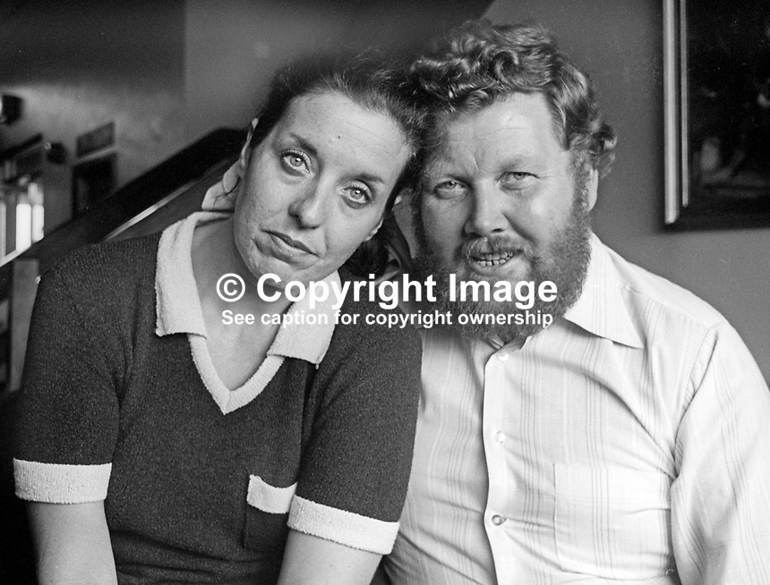 Betty Williams, co-founder, Peace People organization, Belfast, N Ireland, pictured with her husband, Ralph Williams, 29th August 1976. 197608290393.<br /> <br /> Copyright Image from Victor Patterson, 54 Dorchester Park, Belfast, UK, BT9 6RJ<br /> <br /> Tel: +44 28 9066 1296<br /> Mob: +44 7802 353836<br /> Voicemail +44 20 8816 7153<br /> Email: victorpatterson@me.com<br /> Email: victorpatterson@gmail.com<br /> <br /> IMPORTANT: My Terms and Conditions of Business are at www.victorpatterson.com