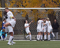 Boston College midfielder Zoe Lombard (20) celebrates her goal with teammates. Boston College defeated Hofstra University, 3-1, in second round NCAA tournament match at Newton Soccer Field, Newton, MA.