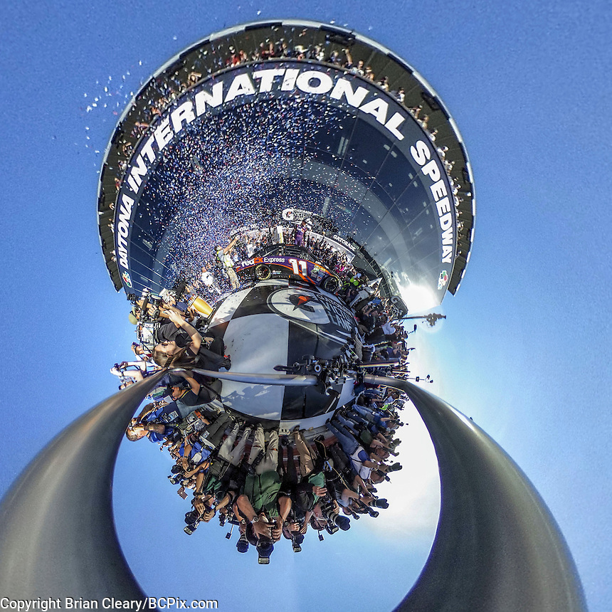 Daytona 500 Victory Lane, Denny Hamlin meets the photographers, little planet 360 degree view.  (Photo by Brian Cleary/ www.bcpix.com )