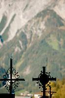 The cemetery around the Pfarrkirche St. Bartholomäus church of Bartholomäberg, in Vorarlberg (Austria, 15/10/2011)