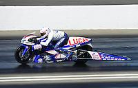 Nov. 10, 2012; Pomona, CA, USA: NHRA pro stock motorcycle rider Hector Arana Jr during qualifying for the Auto Club Finals at at Auto Club Raceway at Pomona. Mandatory Credit: Mark J. Rebilas-