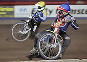 Heat 12 - Henning Bager (blue), Lewis Bridger - Arena Essex Hammers vs Eastbourne Eagles - Sky Sports Elite League 'B' - 04/10/2006 - MANDATORY CREDIT: Gavin Ellis/TGSPHOTO