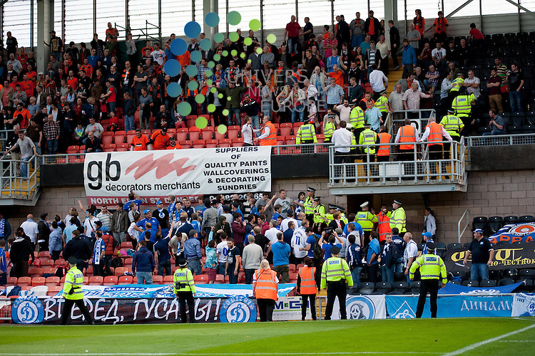 Crowd trouble after the Dinamo Moscow fans try to climb from the lower to upper tier of the stand...Dundee Utd and Dinamo Moscow contest the first leg of their UEFA Europa League Qualifying Third Round tie at Tannadice in Dundee on Thursday 2nd August.