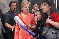 New York, NY - 6 Sept 03 -- Senator Hillary Clinton, accompanied by Huma Abadin, speaks with reporters as she leaves the Labor Day Parade...© Stacy Walsh Rosenstock