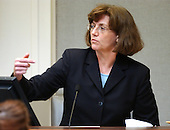 Alabama State medical examiner Dr. Emily Ward testifies during the trial of sniper suspect John Allen Muhammad, at the Virginia Beach Circuit Court  in Virginia Beach, Virginia on October 24, 2003. <br /> Credit: Davis Turner - Pool via CNP
