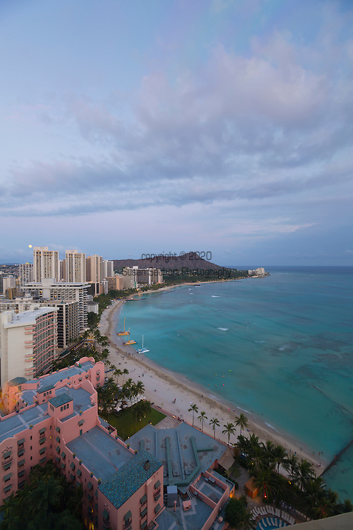 The view of Diamond Head and Waikiki from the top of the Sheraton Waikiki's Leahi Room.  This exclusive club lounge is reserved for members of the Starwood Rewards Program but boasts one of the best views of Waikiki in all of Honolulu.