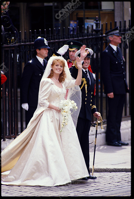 Prince Andrew and Princess Sarah leave Westminster Abbey, following their wedding. London, England, July 23, 1986.
