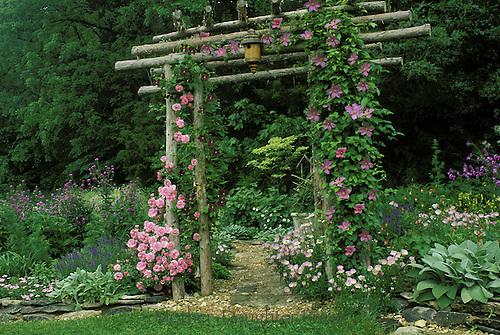 Garden handbuilt arbor with blooming roses and clematis leads into shade garden