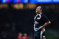 Referee Jaco Peyper watches a TMO replay on the big screen. Rugby World Cup Pool A match between England and Fiji on September 18, 2015 at Twickenham Stadium in London, England. Photo by: Patrick Khachfe / Onside Images